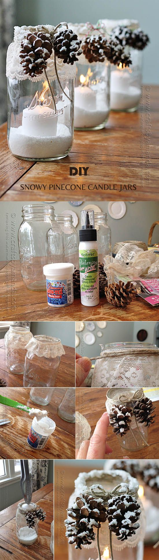 creative-DIY-snowy-pinecone-candle-jars-for-winter-weddings