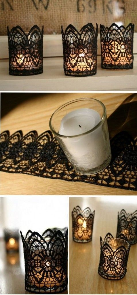 diy-wedding-centerpieces-with-black-lace-and-candles