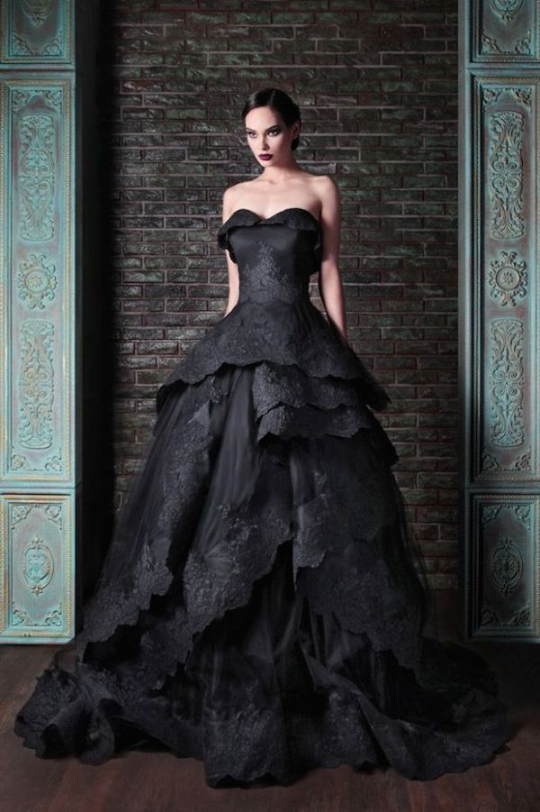 Rami-Kadi-Strapless-Black-Lace-Wedding-Dress-682x1024