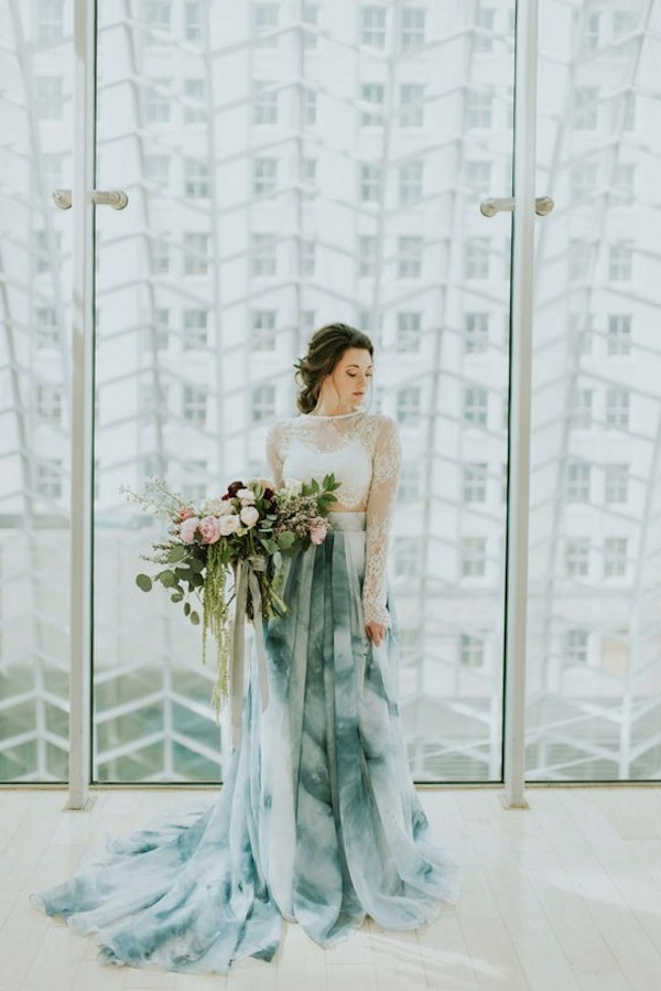 Blue-Tied-dyed-Two-Piece-Wedding-Dress