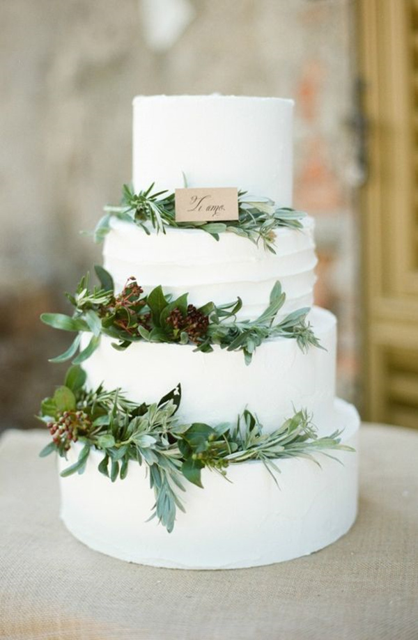 elegant-wedding-cake-ideas-with-green-floral-decoration
