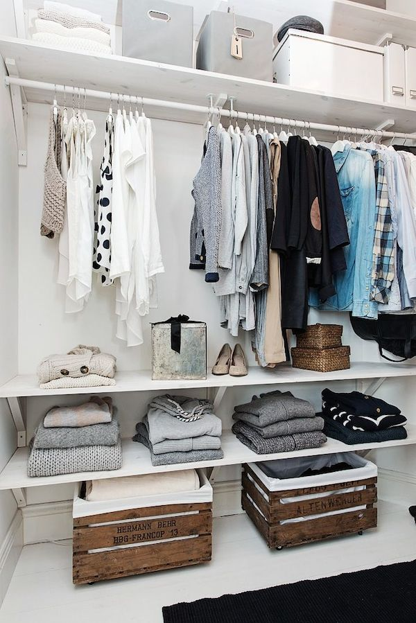 Walk-in-closet-with-wood-crates