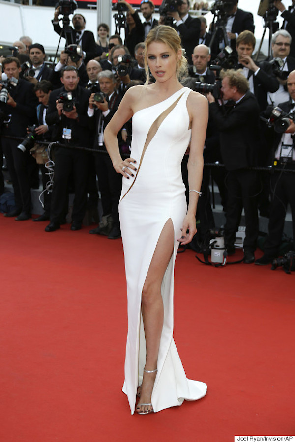Doutzen Kroes arrives for the opening ceremony and the screening of the film La Tete Haute (Standing Tall) at the 68th international film festival, Cannes, southern France, Wednesday, May 13, 2015. (Photo by Joel Ryan/Invision/AP)